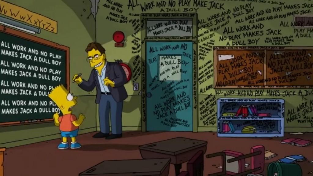 """Wusste schon Jack Nicholsons Jack Torrance in Kubricks Verfilmung von Stephen Kings """"The Shining"""" – und Bart Simpson auch: """"All work and no play makes Jack a dull boy"""", sprich: """"Wer nur arbeitet, wird wahnsinnig."""" (Bild: Fox)"""